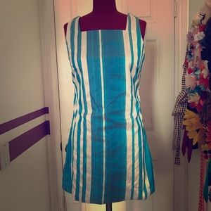 Silk Dupioni Striped Shift Dress